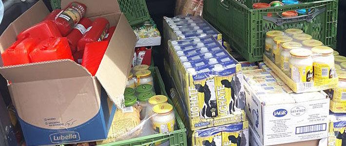 Produkty żywnościowe przekazane dla potrzebujących.