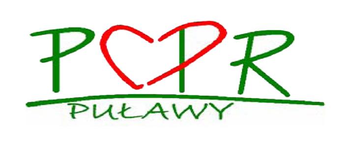 PCPR Puławy - logo - zielone litery, w środku kształt serca