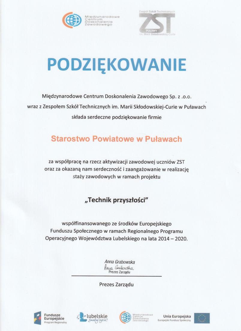 """Dyplom z podziękowaniem dla Starostwa Powiatowego w Puławach za współpracę w ramach projektu """"Technik przyszłości"""""""
