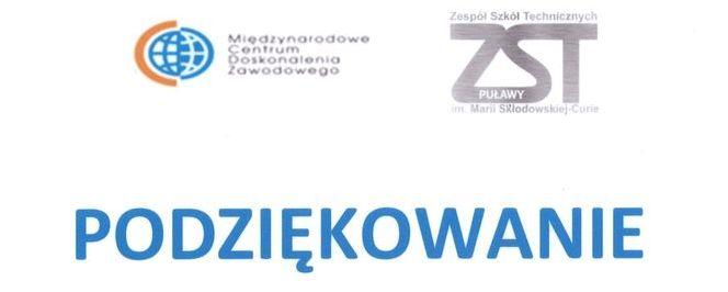 Podziękowanie, loga MCDZ i ZST