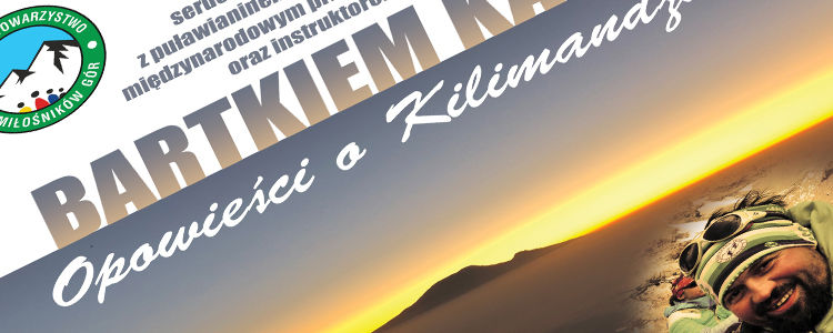 Fragment plakatu, góry o zachodzie słońca, część napisów