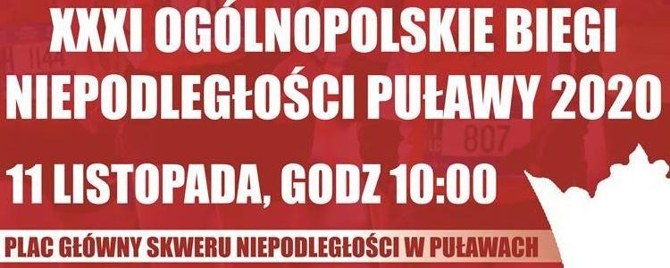 XXXI Ogólnopolskie Biegi Niepodległości – Puławy 2020 11 listopada godz. 10.00