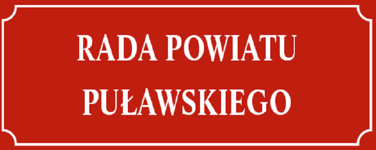 Rada Powiatu Puławskiego, bia le litery na czerwonym tle