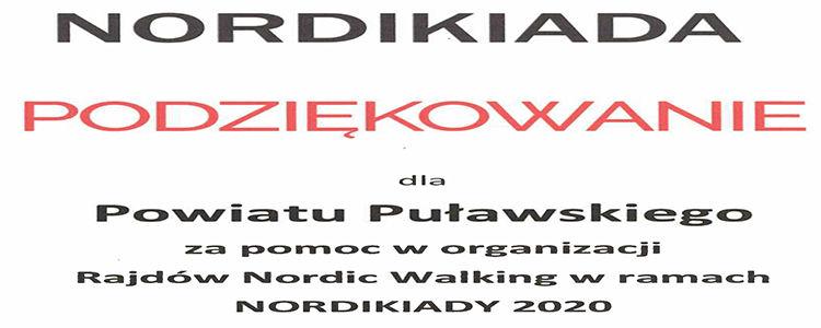 Podziękowanie dla Powiatu Puławskiego za pomoc w organizacji Nordikiady 2020