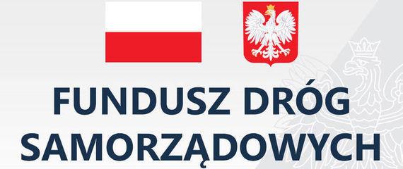 Fundusz Dróg Samorządowych, biało-czerwona flaga, godło Polski