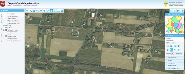 Zrzut ekranu z platformy geoportal.