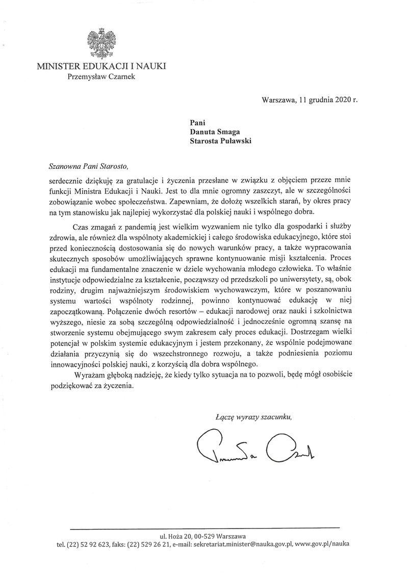 List z podziękowaniem od Ministra Edukacji i Nauki.
