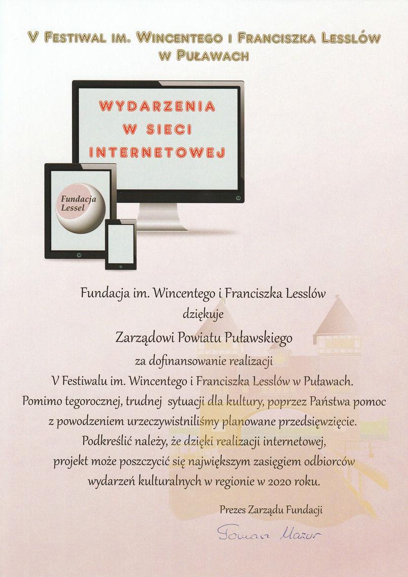 Podziękowanie dla Zarządu Powiatu od Fundacji im. Wincentego i Franciszka Lesslów