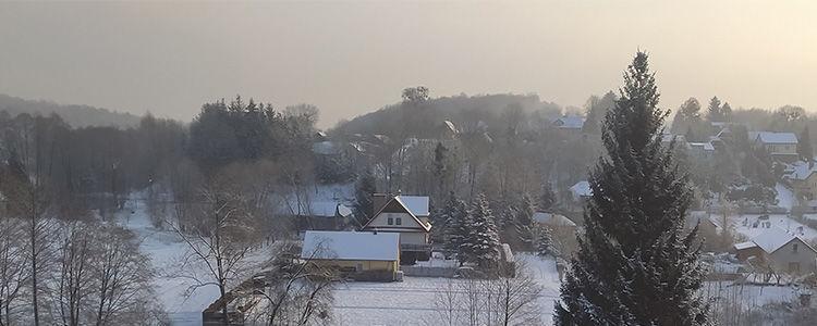 Zima, w tle domy, las i niebo