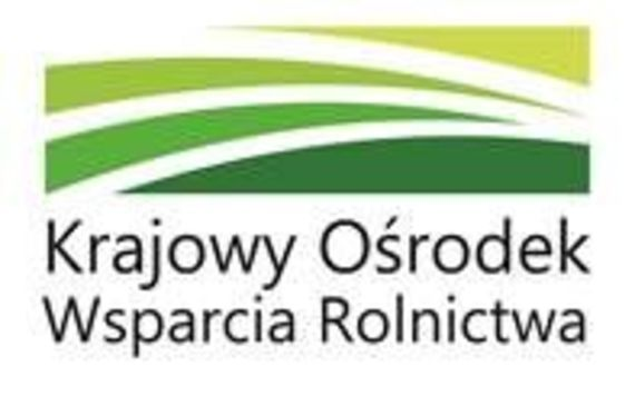 Prostokąt  - na białym tle cztery ZAKRZYWIONE zielone linie - Logo Krajowego Ośrodka Wsparcia Rolnictwa