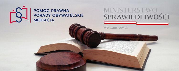Grafika przedstawiająca młotek sędziowski ułożony na otwartej księdze. Powyżej logotypy Ministerstwa Sprawiedliwości i Nieodpłatnej Pomocy Prawnej.