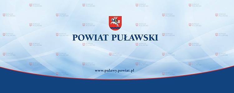 Powiat Puławski, herb, www.pulawy.powiat.pl, tło niebieskie