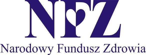 Napis na białym tle granatowe litery NFZ - Narodowy Fundusz Zdrowia na F w miejscu środkowej kreski serduszko granatowo białe