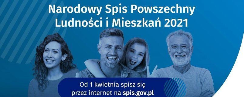Plakat na niebieskim tle uśmiechający się ludzie w różnym wieku i napis  Narodowy Spis Powszechny Ludności i Mieszkań
