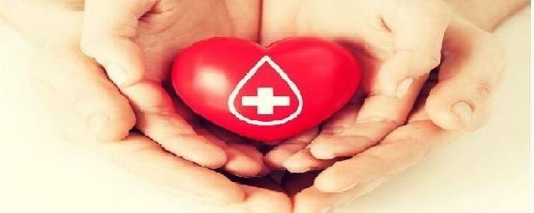 symbol serca z kroplą krwi na złożonych dłoniach w objęciu innych dłoni