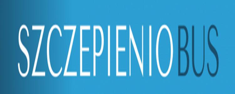 Szczepieniobus - napis na niebieskim tle