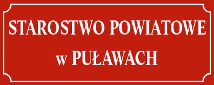 Starostwo Powiatowe w Puławach - białe litery na czerwonym tle