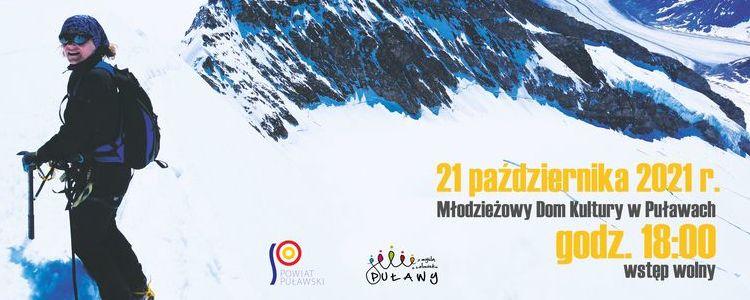 Postać na tle zaśnieżonych gór. Loga sponsorów, termin spotkania 21 października 2021 r, godz. 18.00.