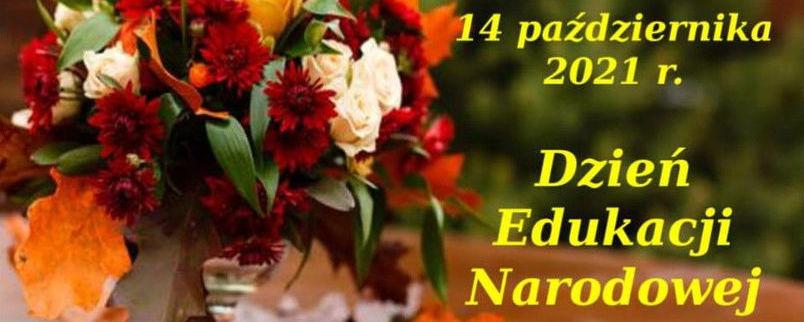 14 października 2021 r, Dzień Edukacji Narodowej, kompozycja jesienna, herb powiatu
