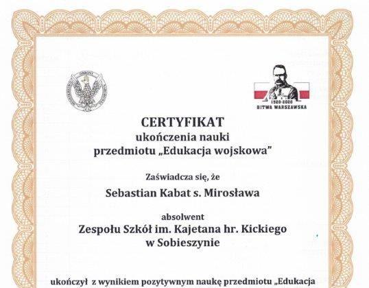 """Szkoła """"u Kickiego"""" w elitarnej grupie Certyfikowanych Wojskowych Klas Mundurowych"""