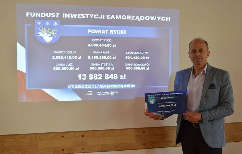 """Blisko 14 mln zł dla samorządów powiatu ryckiego z """"Tarczy dla samorządów"""""""