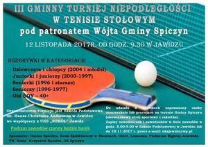 III Gminny Turniej Niepodległości w tenisie stołowym