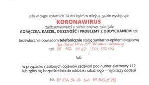 Wykadrowana część plakatu Koronawirus