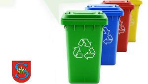 fragment plakatu- herb gminy, kontenery na śmieci