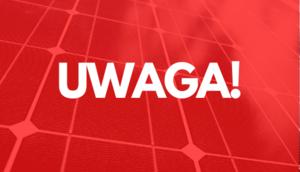 Biały Napis na czerwonym tle UWAGA!