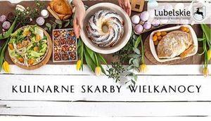 Potrawy wielkanocne z napisem Kulinarne skarby Wielkanoc