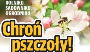 Grafika z napisami: ROLNIKU, SADOWNIKU, OGRODNIKU Chroń pszczoły!