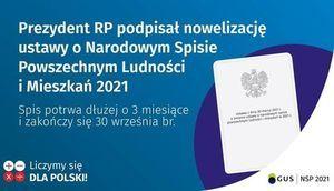Grafika z informacją: Prezydent RP podpisał nowelizację ustawy o Narodowym Spisie Powszechnym Ludności i Mieszkań 2021 Spis potrwa dłużej o 3 miesiące i zakończy się 30 września br. 0O Liczymy się X + DLA POLSKI! GUS NSP 2021