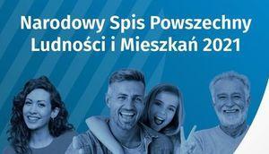 Uśmiechnięte osoby i napis Narodowy Spis Powszechny Ludności i Mieszkań 2021