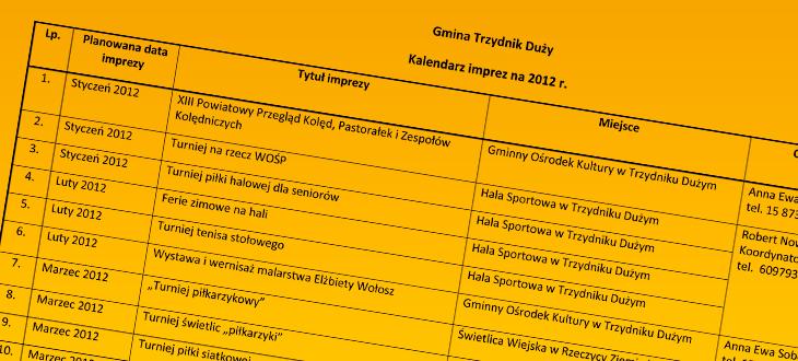 Kalendarz Imprez 2012