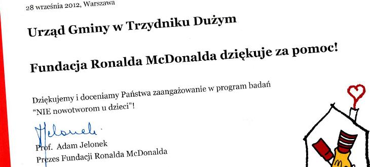 Urząd Gminy w Trzydniku Dużym - Fundacja Ronalda McDonalda dziękuje za pomoc!