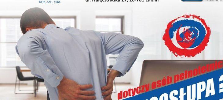 Fragment plakatu- mężczyzna trzymający się za plecy