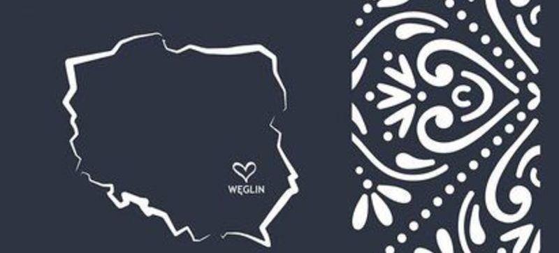 Grafika polska na granatowym tle z napisem Węglin i sercem