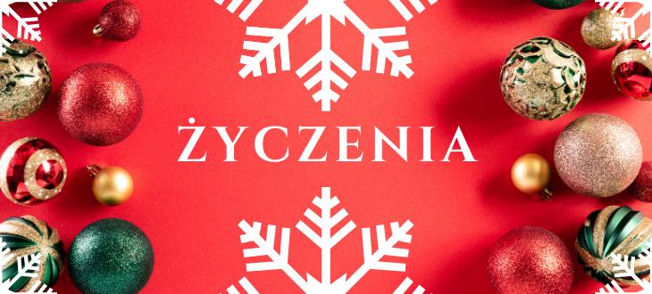 Grafika świąteczna z napisem ŻYCZENIA