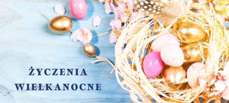 Grafika wielkanocna z napisem Życzenia Wielkanocne