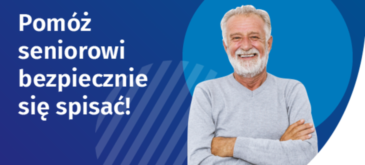 Baner uśmiechnięty senior i napisy: Pomóż seniorowi bezpiecznie się spisać! Liczymy się DLA POLSKI! GUS NSP 2021