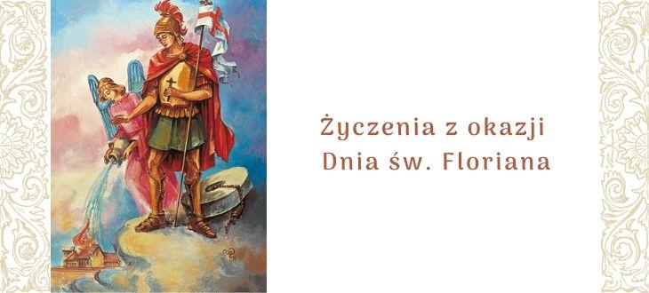 Baner z grafiką św. Floriana