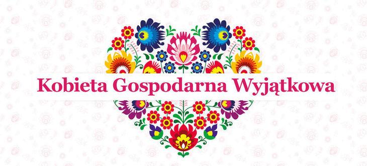 Plakat Serce z kwiatów i napis Kobieta Gospodarna Wyjątkowa