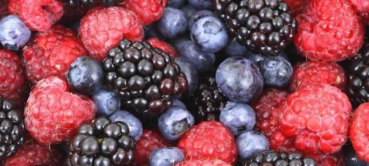 Owoce miękkie Jeżyny, maliny borówki