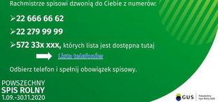 Baner z informacjami na zielonym tle.