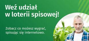 Fragment plakatu promującego loterię: Weź udział w loterii spisowej! Zobacz co możesz wygrać spisując się internetowo