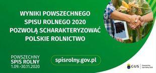 Baner z napisem Wyniki powszechnego Spisu Rolnego 2020 pozwolą scharakteryzować polskie rolnictwo