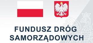 Flaga i Godło Polski z napisem Fundusze Dróg Samorządowych
