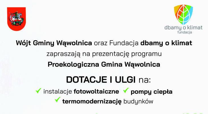 """Zapraszamy na prezentacje on-line programu """"Proekologiczna Gmina Wąwolnica"""""""
