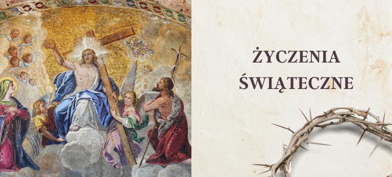 Obraz Jezusa i napis Życzenia Świąteczne.