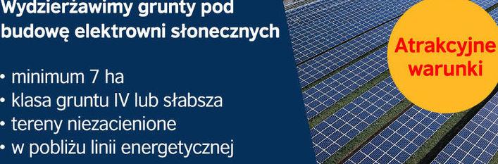 Firma Solaris Ventum Sp. z o. o., specjalizująca się w branży fotowoltaicznej, wydzierżawi grunty pod budowę elektrowni słonecznej.